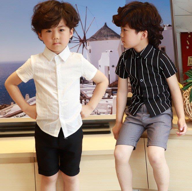 日韓歐美♥韓版中大男童 黑/白 條紋襯衫 夏日短袖襯衫上衣 表演 花童短袖上衣【CF013】