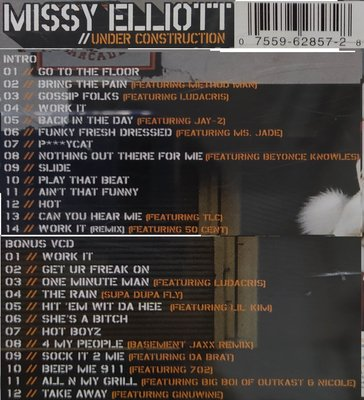 [MISSY ELLIOTT   UNDER CONSTRUCTION]膠盒+歌詞摺頁+歌詞頁+CD+VCD,2002年