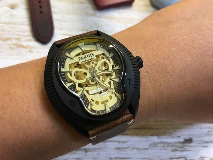 【六樓先生】PARNIS 大錶徑 SKULL 骷髏騎士 藍寶石鏡面 日本機芯 自動上鍊簍空機械錶