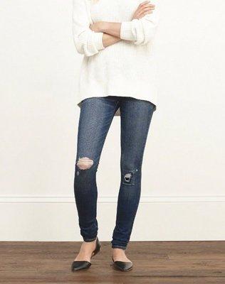 美國Abercrombie & Fitch女裝A&F SUPER SKINNY JEANS 6號超級細瘦深色撕補刷牛仔褲