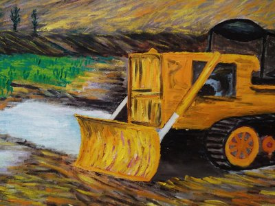【台灣人珍瓊-200802】A tractor in front of a bridge(Oil 72x55 cm)