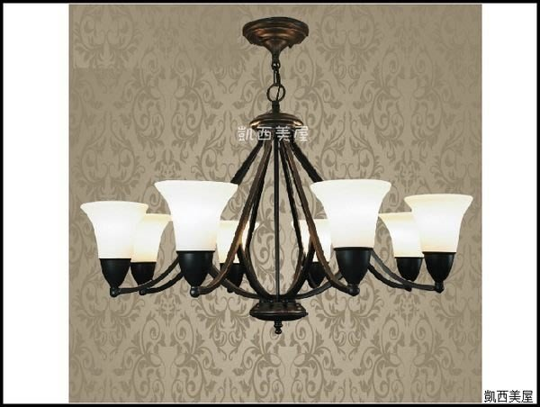 凱西美屋 美式鄉村鍛鐵吊燈8燈 田園風新古典風客廳燈