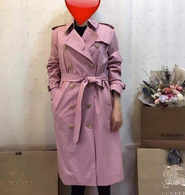 BURBERRY英國黑標輕薄嘎巴甸Trench長風衣/粉筆粉紅色