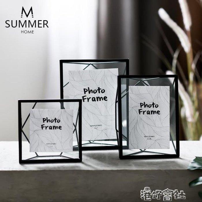簡約創意黑色金屬玻璃幾何相框擺台植物標本畫框畢業禮物相框