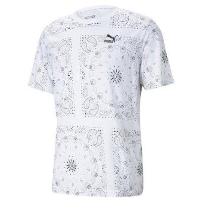 【豬豬老闆】PUMA 流行系列 Offbeat 白 短袖 短T 歐規 印花 滿版 休閒 運動 男款 53254402