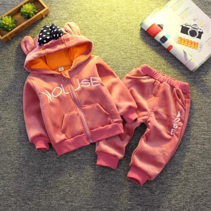 999童裝女童秋冬裝1-3歲5金絲絨套裝寶寶加絨加厚外套小孩嬰兒棉衣服01KK12