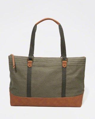 Maple麋鹿小舖 Abercrombie&Fitch * AF 綠色厚帆布仿皮肩背/手提大包 * ( 現貨 )