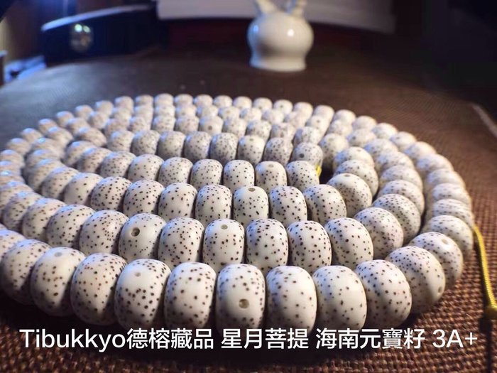 Tibukkyo訂製品 星月菩提 12x8mm 桶珠 3A+ 海南元寶籽 高密正月乾磨 108顆 海南籽 佛珠念珠藏傳佛