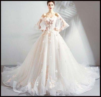 哆啦本鋪 天使嫁衣 仙氣十足 極致魅力重工花朵露肩新娘大拖尾婚紗禮服D655