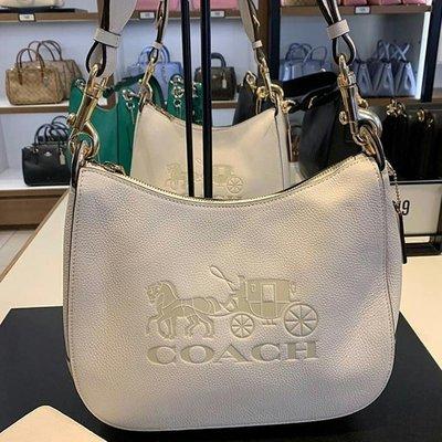軒軒小店 COACH 72702 白色 新款女式翻蓋郵差包 大馬車 馬鞍包 寬肩帶 側背包 單肩包