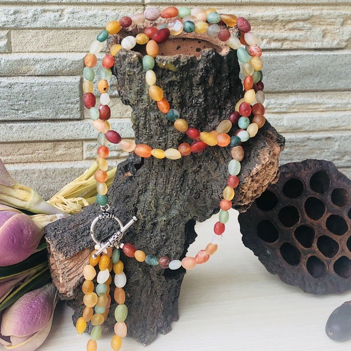 [馬克與安]手作飾品-108顆戈壁多彩瑪瑙Y字鍊⭐️5-6mm徧圓長珠+28顆垂珠