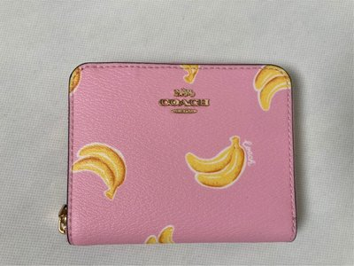 【葛瑞絲德州Outlet直購】Coachㄇ型拉鍊短夾-香蕉