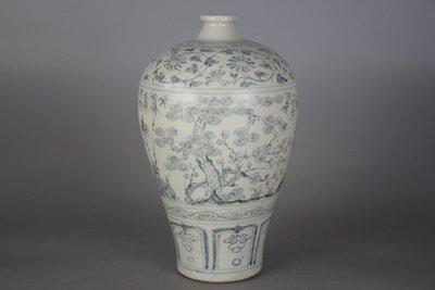 ㊣姥姥的寶藏㊣元代出土青花松竹梅紋梅瓶 古玩