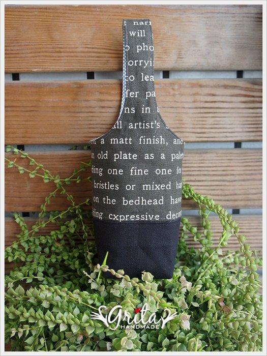 ♥grita's handmade♥手作環保飲料提袋/手搖杯/環保杯袋/隨身提包/帆布包—文青灰底英文字+黑雙色(現貨)