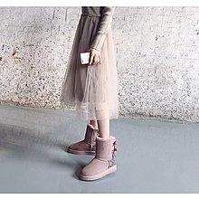 【木風小舖】轉賣.雙色水鑽 後大蝴蝶結羊皮雪靴*藕粉37號