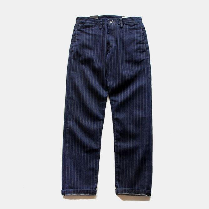 【NoComment】美式復古休閒 重棒藍染藍白直條工作褲 Levis Stussy