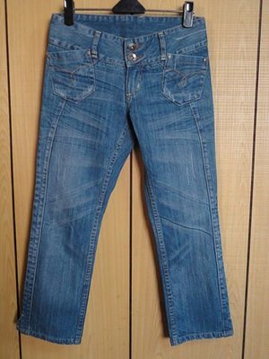 簡約風雙銅釦牛仔褲~SIZE:S~99元起標
