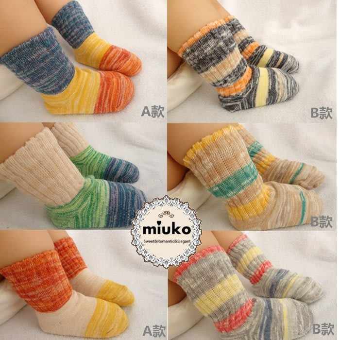 miuko BABY款嬰幼兒寶寶男女童 秋冬款 森林系 彩色 粗毛線 純棉 防滑  短筒 中長筒 襪子(一組3雙)現貨