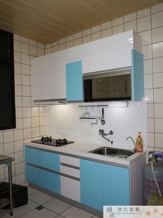 【雅格廚櫃】工廠直營~一字廚櫃、流理台、結晶鋼烤、櫻花二機、5mm烤漆強化玻璃
