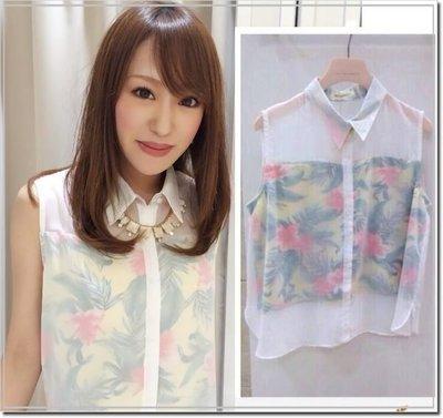 【WildLady】特促 日本高價牌be radiance日系超美大花透視感雪紡短版襯衫 上衣 背心
