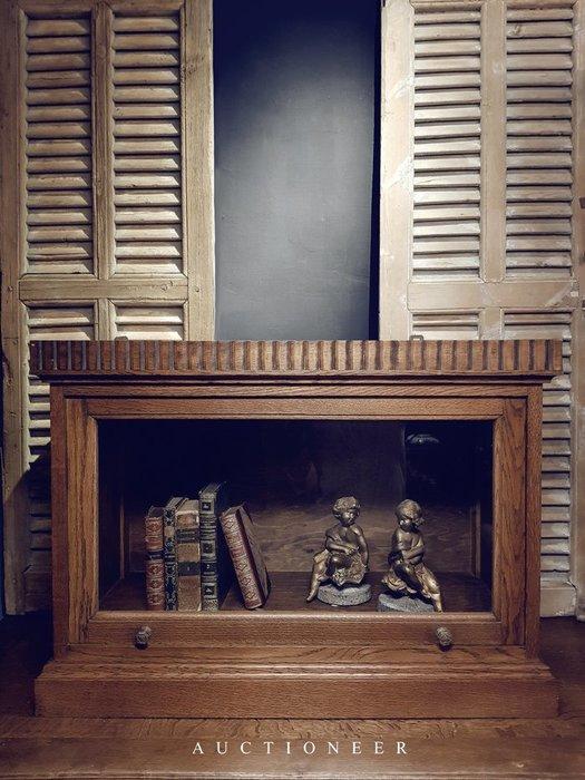 【拍賣師古董市集】歐洲古董1900年代法國橡木玻璃展示櫃
