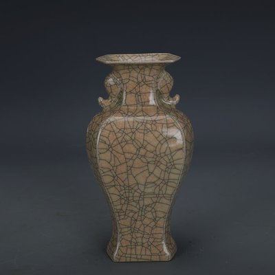 ㊣姥姥的寶藏㊣ 宋代哥窯金絲鐵線支釘象耳扁瓶  出土文物古瓷器古玩古董收藏