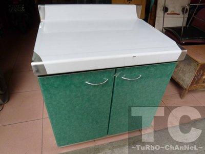 流理台【72公分工作平台】台面&櫃體不鏽鋼 彩綠色大理石紋門板 最新款流理臺