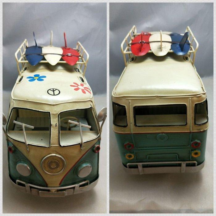 @3C 柑仔店@聖誕 交換 禮物 鐵製 衝浪板小巴士 藍 鐵皮 汽車 巴士 模型 家居飾品 懷舊 復古 歐式 英國鄉村