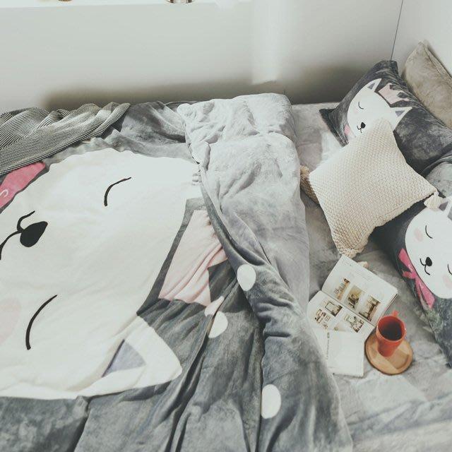 法蘭絨 5尺/標準雙人鋪棉床包被套組【美喵喵】絲薇諾