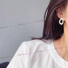 IN House*🇹🇼現貨earring 個性港風 耳環 網紅復古風 滴釉 耳釘 不對稱 橢圓 925 銀針 耳針