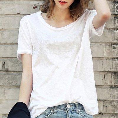 夏季棉麻女裝寬鬆白色內搭T恤竹節棉質女士短袖體恤半截袖上衣服