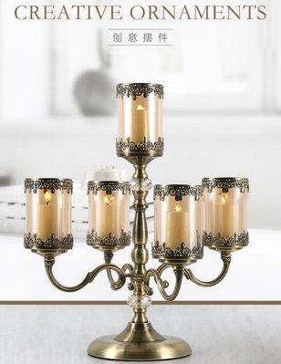 SUNNY雜貨-歐式復古輕奢蠟燭臺美式燭臺擺件北歐浪漫燭光晚餐道具餐桌蠟燭#擺件