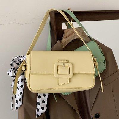 預購款-小包包新款小眾設計法棍包春夏單肩包復古腋下包絲巾手提女包