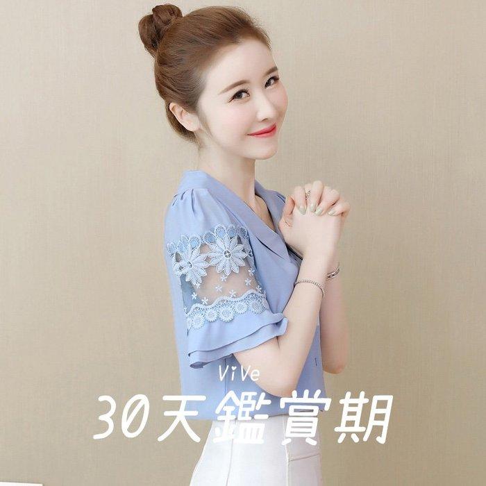 實拍 S-2XL 襯衫 粉紅色 桔色 藍色 雪紡衫 鏤空 夏季 蕾絲 韓版 短袖 上衣 娃娃領 35CF6E