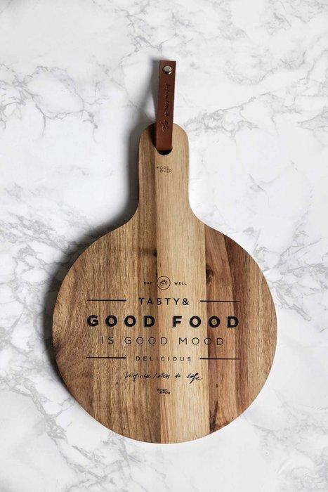 - Meiprunus -原創 設計 圓形 實木 廚房 砧板 托盤 披薩板 麵包板 水果板(大)31.5cm*22cm