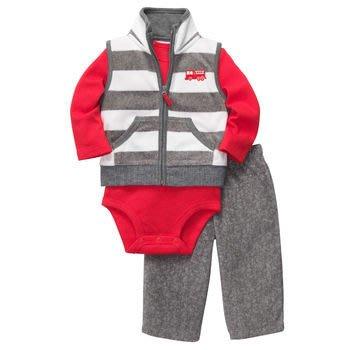 【安琪拉 美國童裝/生活小舖】Carter's 3件式套裝–灰色橫紋消防車背心+包屁衣/連身衣+長褲