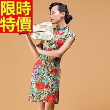 旗袍 短禮服-唐裝 搭配鮮豔中國花棉麻中式女連衣裙2色65o43[獨家進口][米蘭精品]