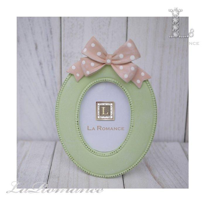 【荷蘭 Clayre & Eef 特惠系列】 綠色蝴蝶結橢圓2.5 x 3.5相框 / 童趣 / 生日 / 紀念日