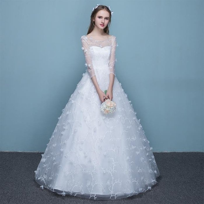 婚紗禮服2018新款孕婦高腰婚紗蕾絲花瓣一字肩齊地婚紗公主婚紗冬