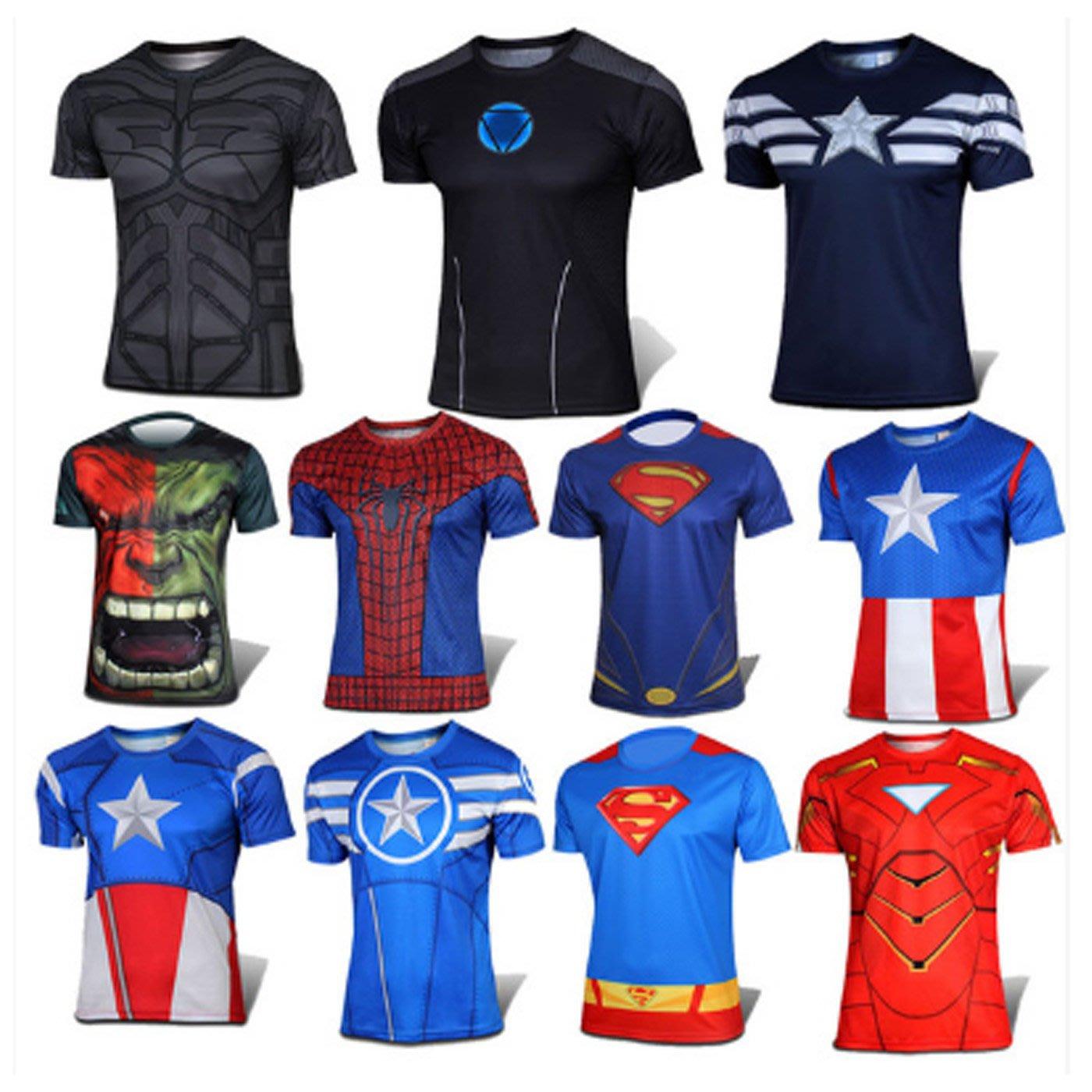 【綠色運動】17年 男士 緊身衣 運動健身衣速幹衣 訓練服 美國隊長 鋼鐵俠 超人短袖T恤 吸濕排汗速幹 預定款 帕
