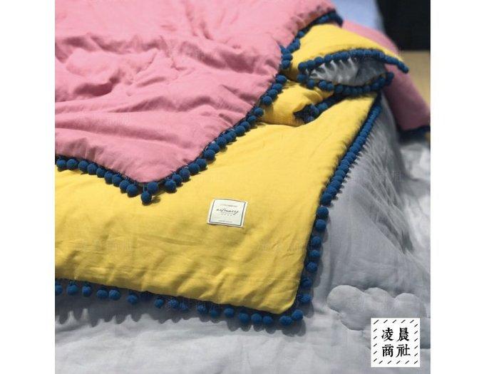 凌晨商社 //北歐 ig 拍照道具 多色可選  球球 花邊  空調毯 蓋毯 雙層紗 全棉 夏季 涼被