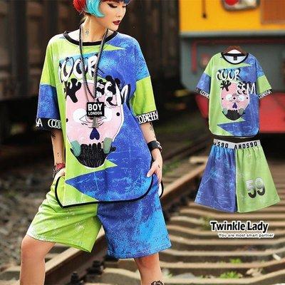 『現貨』《獨家自創潮牌》抽象印花 塗鴨 撞色短袖T恤 【JA0107】- 崔可小姐