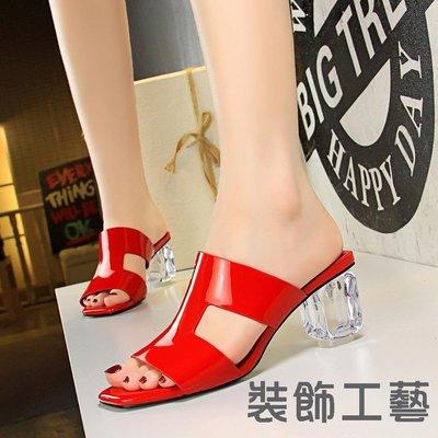 BM2韓版時尚夏季女鞋水晶跟透明粗跟高...