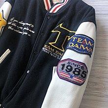 原價十萬 私藏逸品TEAM DAIWA 頭層牛皮拼接羊毛棒球外套
