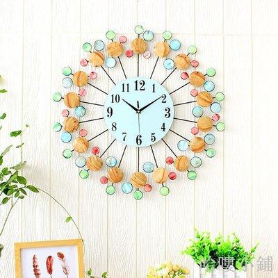 哈嘍小鋪 地中海風格客廳創意掛鐘貝殼時尚鐘表個性裝飾靜音石英鐘