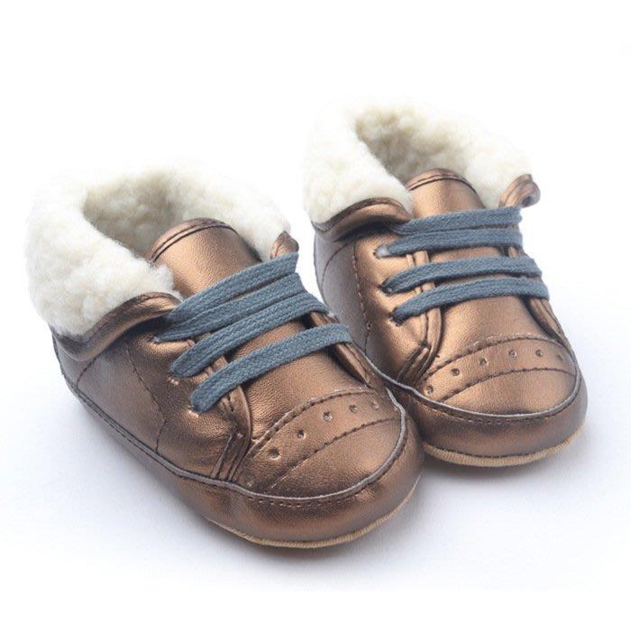 寶貝倉庫~古銅反折保暖休閒鞋~學步鞋~布底鞋~寶寶鞋~嬰兒鞋~棉鞋~童鞋~螃蟹車~彌月送禮~促銷價1雙127