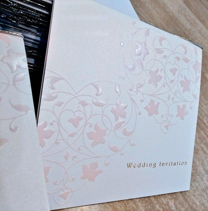 珍珠白粉紅雙心喜帖 邀請卡 婚禮 結婚卡片