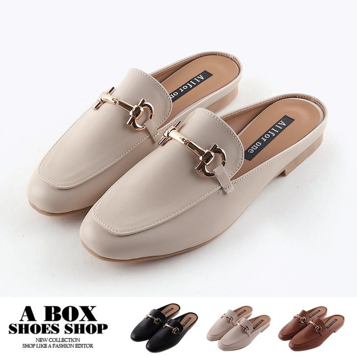 格子舖*【KT5088】2.5CM穆勒鞋 氣質百搭一字飾釦 皮革低跟方頭半包鞋 懶人鞋 MIT台灣製 3色