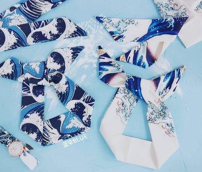 千禧禧居~藍染自制日系古風海浪發帶綁發裝飾復古發飾發箍頭套布藝頭箍