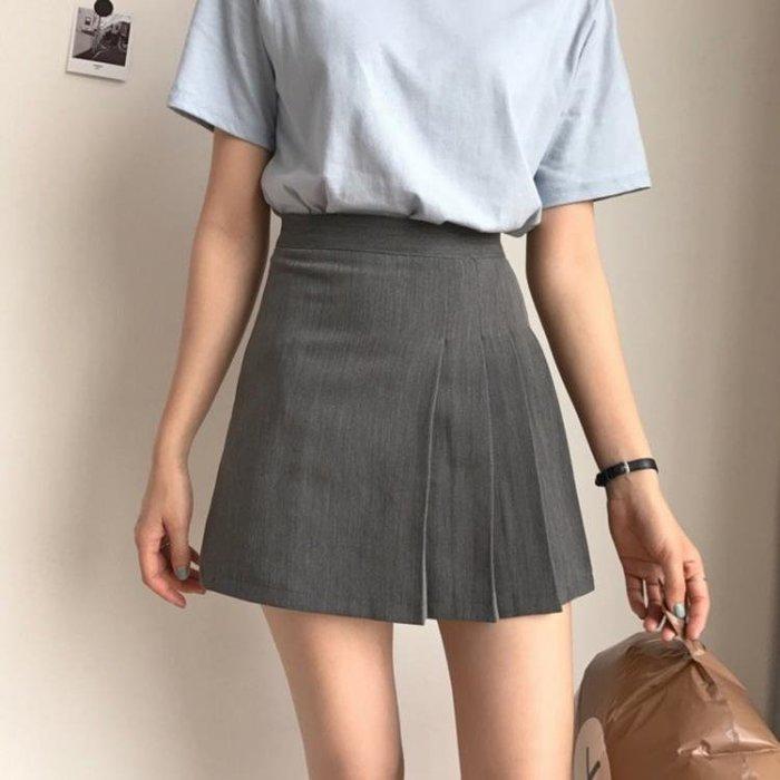 高腰純色半身裙女夏季新款韓版百搭修身顯瘦包臀裙百褶裙短裙